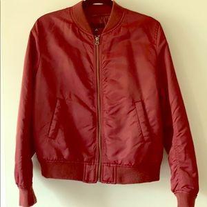 Uniqlo like new burgundy bomber jacket size M